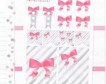 12 bows and stripes, pretty, planner stickers, sampler, decorating kit, banner, ribbon, pink, watercolor, full box, Erin Condren BOW3