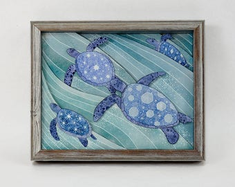 Expedition- 8x10 sea turtle printed shadow box- MADE TO ORDER!