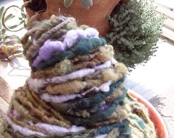 The Hint Of Spring: super soft wools, alpaca, mohair, sparkle Rockstar Handspun - greens/lavender/pink/gold, corespun, 83 super-bulky yds