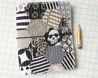 Quilted journal cover, fauxdori, black and white, skulls, quilt travel journal, fabric planner