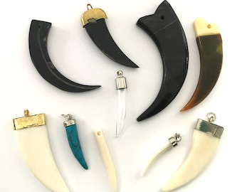 10pc Tusk Pendant Lot OOPS Sample Set Horn Spike Charms Carved Bone Turquoise Tusks Spikes Bulk Destash Mother of Pearl Claw Pendants