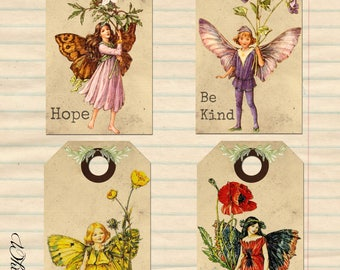 Vintage Fairy Tags - Collage Sheet - Whimsy Hollow - Print & Use!