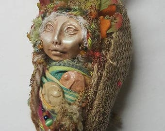Cottage Green  Witch,  Assemblage Art doll,  Shabby Decor, Helpful Green Witch, Assemblage Art doll, Nature mythology art, Rustic Home