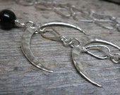 Lightless necklace ... hammered sterling silver crescent moons / onyx / herkimer diamond
