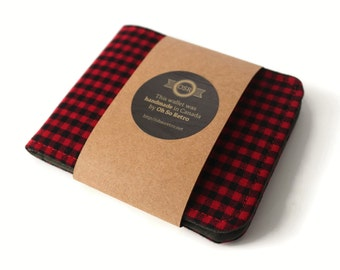 Vegan Wallet / Ultra Thin Minimalist Wallet / Lumberjack Red Check Billfold