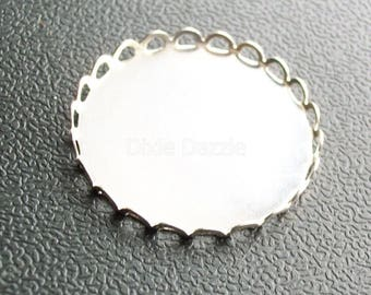 DIY supplies 10 pcs 25 mm silver lace edge pendant trays, bezel settings, holds 25mm cabochon, scalloped bezel, 1 inch jewelry base,  620R