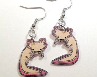 Handcrafted Plastic Axolotl Amphibian Earrings Styles: Fish Hook, Dangle Clipon, Dangle Ball Stud, Leverback