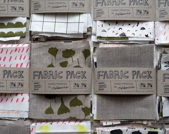 Fabric swatch pack - 13 pieces of screenprinted fabric designed and made in Melbourne. Flax linen, organic cotton.