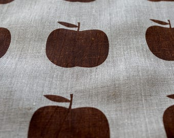 Fabric panel - Apples on flax linen. Textiles designed and screen printed in Melbourne.