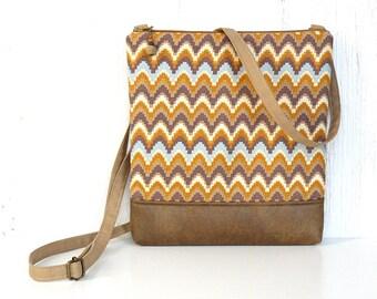 Chevron Crossbody Bag, Fabric Hip Bag, Zipper Cross Body Purse - Crenellate in Gold, Tan, Cream and Light Blue