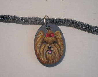 Yorkshire Terrier Yorkie Dog Beaded Necklace Hand Painted Ceramic Pendant