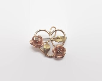 Vintage Yellow & Rose Gold Tone Floral Heart Pin