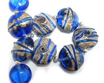 Denim Blues Lentils, SRA Handmade Glass Lampwork Beads