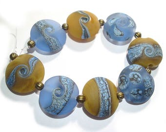 Blue and Tan etched Lentils, Handmade Glass Lampwork Beads,