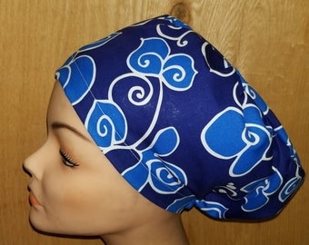 Euro Hat Close Blue Fower Medical Surgical Scrub Hat Vet Nurse Chemo