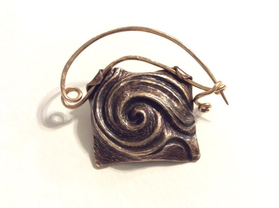 Bronze spiral third eye brooch fibula, scarf pin