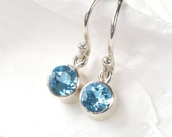 December Birthstone Earrings | Blue Topaz | Sterling Silver | Handmade in the UK