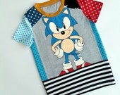 Size 6(43 3/4 inch) Upcycled Boys long sleeve tee shirt Sonic