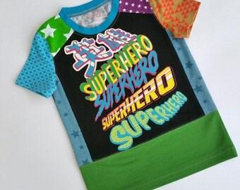 Size 5T(42 3/4 inch) Upcycled Boys long sleeve tee shirt superhero