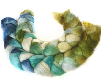 WENSLEYDALE SILK roving top handdyed spinning fibre 3.4 oz