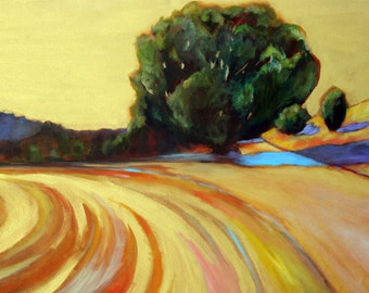 Golden Sky Northern California landscape oil painting print 8x10