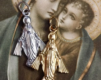 VIRGIN MARY MEDAL Vintage Small Figural Germany
