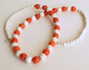 Orange Jasper Necklace with White Magnesite, Sterling Silver Clasp, Smokeylady54