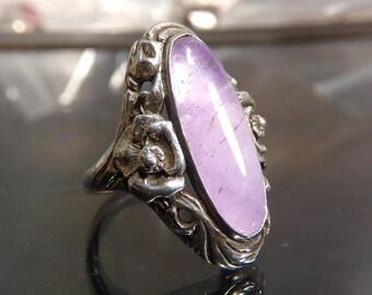 Victorian Amethyst Roses Ring sterling silver band size 7 vintage big long oval vine