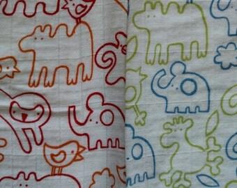 Animal Cotton Gauze Fabric DESTASH LOT F1021 Ikea Woven Textile Red Blue Green Elephants Monkey Bird Hippo Kids Baby Please Read Description