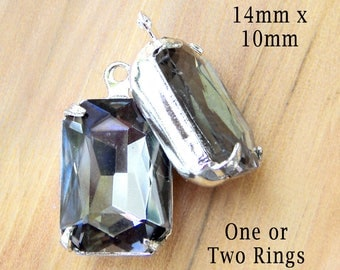 Black Diamond Glass Beads - 14mm x 10mm Octagons - Framed Glass Pendants or Earring Drops - Rhinestones - Gray - Cabochon - One Pair