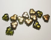 DESTASH-240 Czech Glass Maple Leaf Beads-Green with Metallic Finish