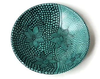 Large Ceramic Serving Bowl with Raised Flower Doodle Design Turquoise and Black