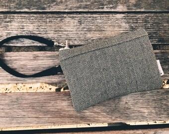 Black Wool Tweed Wristlet Wallet, Small Wristlet, Cell Phone Wallet Wristlet, Zipper Wristlet Purse