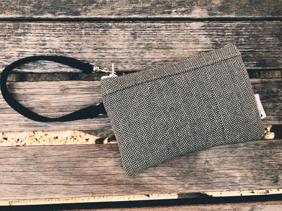 Black Wool Tweed Wristlet Wallet, Small Wristlet, Cell Phone Wallet Wristlet, Zipper Wristlet Purse