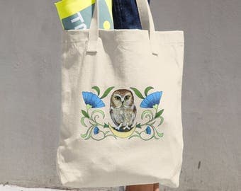 Saw Whet Owl natural cotton Tote Bag