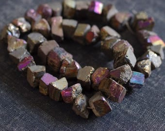 10-13mm Rough Mystic Tourmaline Nugget Cube Beads - Full Strand About 45 Beads Rough Tourmaline, Rainbow Nuggets, Peacock Pyrite AB Coating