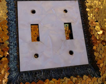 Vintage 1960s Switchplate Light Switch Cover French Provincial Double Switch Plate Faux MOP