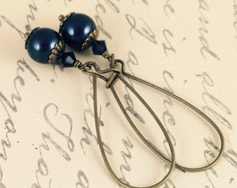 Navy Blue and Bronze Pearl Earrings