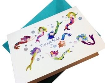 Set of 6 Glittery Mermaid Watercolor Notecards