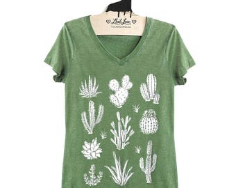 Fitted S,M,L,XL-  Vintage Dye Green V-Neck Tee with Cactus Screen Print-