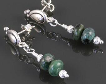 Genuine Emerald Earrings. Sterling Silver. Teardrop Posts. May Birthstone. s17e062