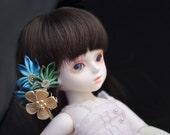 RESERVED custom order. Blue leaves BJD Kanzashi.  Mini Flower and leaf Hair Clip.