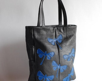 Black tote bag, leather bag, upcycled bag, bag with dragonflies