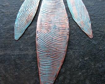Aqua Chestnut River Patterned Copper Leaf Pendant Set - 3 pieces - 2.25 inches and 30mm