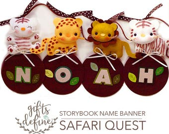 SAFARI ZOO Custom Personalized Felt Name Banner, Safari Jungle Theme, Hanging Felt Wall Art Banner for Baby Nursery Decor, Kids Room Decor