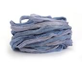 Recycled chiffon silk ribbon handdyed Galaxy, midnight blue purple, 10 metre 11 yard pack, textile arts mixed media trim uk seller