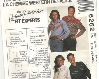 McCall's 6262 Size XXL, 46, 48 Women's and men's plus size sewing pattern for Palmer / Pletsch long sleeve western / rodeo shirt with yoke