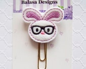 Lavender Nerd Bunny Easter Planner Clip, Bookmark, Planner Accessory, Paper Clip