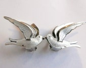 RESERVED. Dove earrings. Bernhard  Meldahl. White dove bird. Norway Sterling Silver. Clip on. Scandinavian jewlery