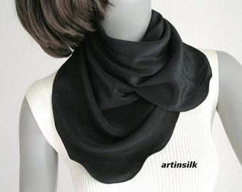 "Black Square Scarf, Small Neck Scarf, Natural Crepe Silk, Black Crepe Scarf, 22""x22"", Pure Silk, Artisan Handmade, Artinsilk, Ready to Ship"